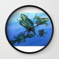 ninja turtles Wall Clocks featuring Ninja Turtles by MrDenmac