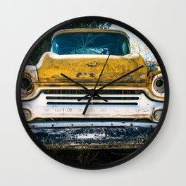 Old Yellow Chevry Apache Truck Wall Clock