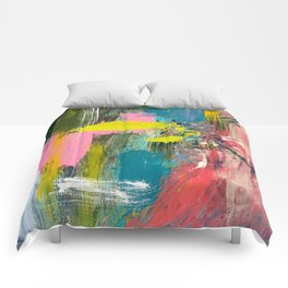 Collision - a bright abstract with pinks, greens, blues, and yellow Comforters