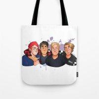 boys Tote Bags featuring Boys by gabitozati