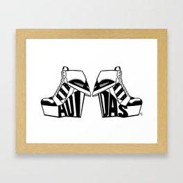 ADIDAS BLACK & WHITE WEDGE SNEAKER BOOTIE Framed Art Print