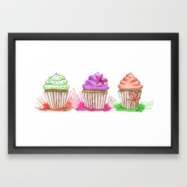 Trio Of Cupcakes Framed Art Print