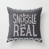 Throw Pillows featuring the snuggle is real by cabin supply co