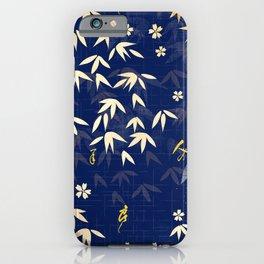Vintage Japanese Paper: Fluttering Leaves on Midnight Blue iPhone Case