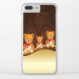Teddy bear with red bow Clear iPhone Case
