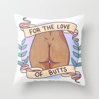 heymonster Throw Pillows featuring Butts 1 by heymonster