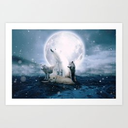 Wolves and the polar bear by GEN Z Art Print