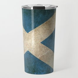 Old and Worn Distressed Vintage Flag of Scotland Travel Mug