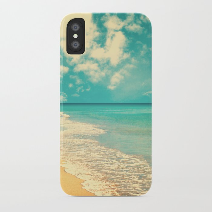 Waves of the sea (retro beach and blue sky) iPhone Case