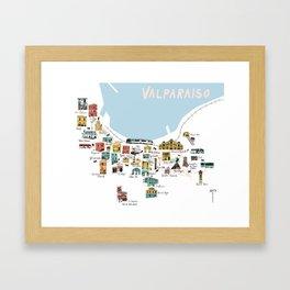 Valparaiso Map (white) - Chile Framed Art Print