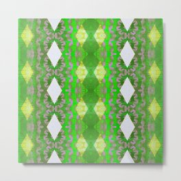 Lime and Moss Green Modern African Boho Texture Print Metal Print