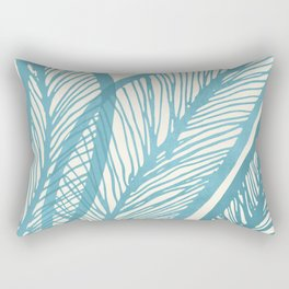 Blue Banana Leaf / Tropical Plants Rectangular Pillow