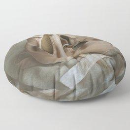 Creamy pointe ballet shoes Floor Pillow