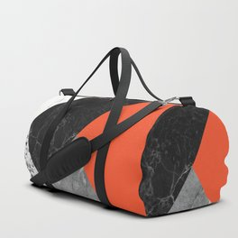 Black and White Marbles and Pantone Flame Color Duffle Bag
