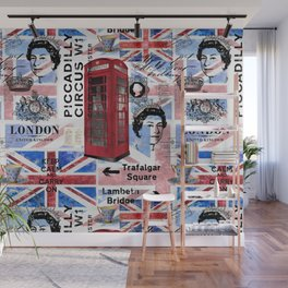 God Save The Queen Great Britain Collage Wall Mural