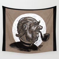 victorian Wall Tapestries featuring Victorian Profile_3 by David Miley