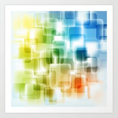Contemporary Sparkle Blue, Green, Orange, Squares Art Print