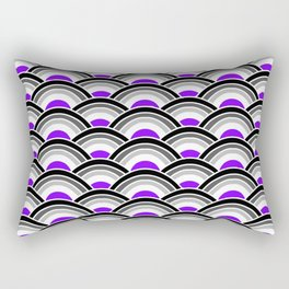Black, Gray, and Purple Scallop Rectangular Pillow