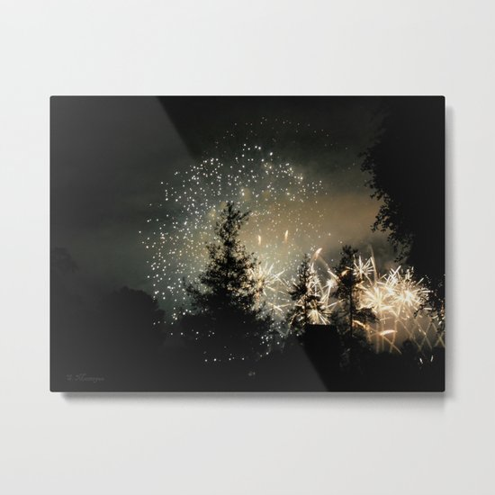 Forest Fireworks. © S. Montague. Metal Print