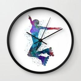 Woman in roller skates 05 in watercolor Wall Clock