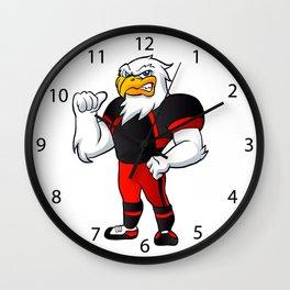 cartoon hawk football player. Wall Clock