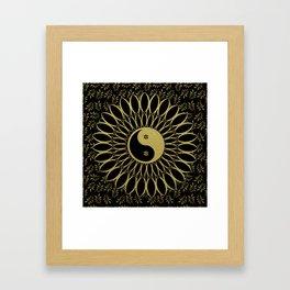 'Yin Yang Golden Daisy' Gold Black mandala Framed Art Print