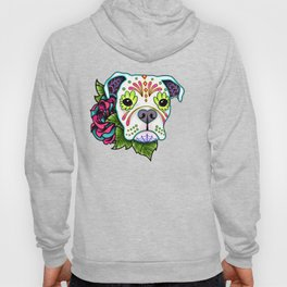 Boxer in White- Day of the Dead Sugar Skull Dog Hoody