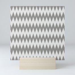 Pantone Pewter Gray and White Zigzag Pointed, Rippled Horizontal Line Pattern Mini Art Print