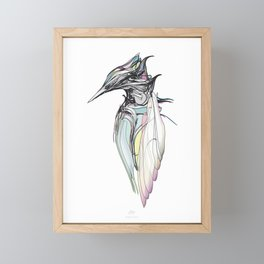 Kingfisher 1h. Full color plus black borders with white background-(Red eyes series) Framed Mini Art Print