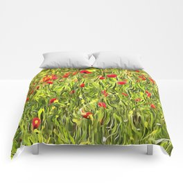 Surreal Hypnotic Poppies Comforters