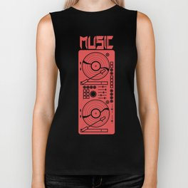 Music Vinyl Record Player Biker Tank