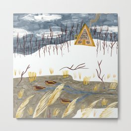 A-Frame Home in the Woods Metal Print