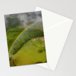 Hawaiian Rainbow Over Valley in Kauai: Aerial View Stationery Cards