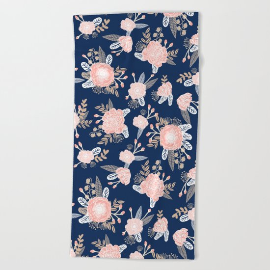 Floral bouquet pastel navy pink florals painted painted metallic pattern basic minimal pattern print Beach Towel