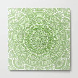 Olive Lime Green Mandala Detailed Ethnic Tribal Pattern Metal Print