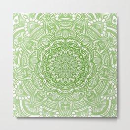 Olive Lime Green Mandala Detailed Ethnic Tribal Pattern Metal Print