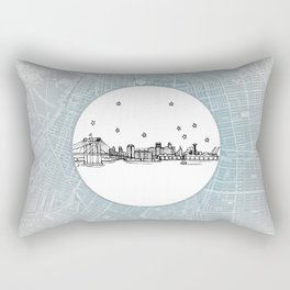 Brooklyn, New York City Skyline Illustration Drawing Rectangular Pillow