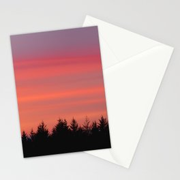 Fire Sky Over The Forest - 76/365 Stationery Cards