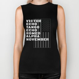 Military Alphabet Veteran With American Flag Biker Tank