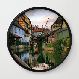 Boat ride at sunset in Colmar Wall Clock