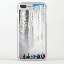 The crowd - Skogafoss, Iceland Clear iPhone Case