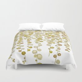 golden string of pearls watercolor 2 Duvet Cover