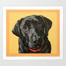 Black Labrador Retriever Portrait, Pop Art Lab Dog Painting Art Print