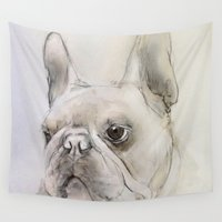 frenchie Wall Tapestries featuring Frenchie portrait by Pauline Fowler ( Polly470 )