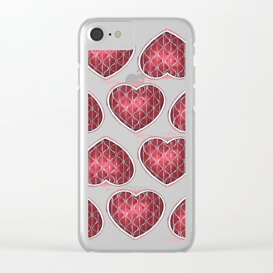 Wine Colored Hearts Clear iPhone Case