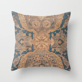 Persian Motif I // 17th Century Ornate Rose Gold Silver Royal Blue Yellow Flowery Accent Rug Pattern Throw Pillow