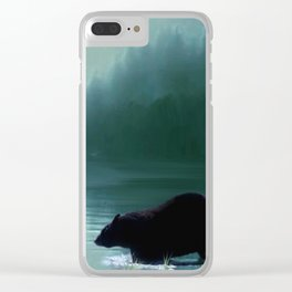 Stepping Into The Moonlight - Black Bear and Moonlit Lake Clear iPhone Case