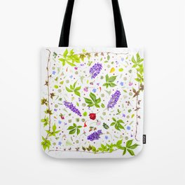 Leaves and flowers pattern (33) Tote Bag