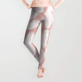White Tropical Palm Tree Fern Leaf on Rose Gold Pattern Leggings
