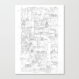 Vertical London Sketch Canvas Print